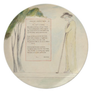 Un pastor que lee el epitafio, de la elegía escrit platos para fiestas