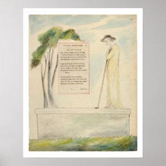 Un pastor que lee el epitafio, de la elegía escrit póster