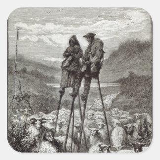 Un pastoral en las Landas Pegatina Cuadrada