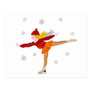 Un patinaje de hielo de la chica joven como caída postal