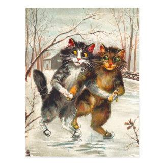 Un patinaje de hielo de los pares del gato tarjetas postales