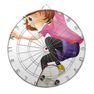 Un patinaje enérgico de la señora joven tablero dardos