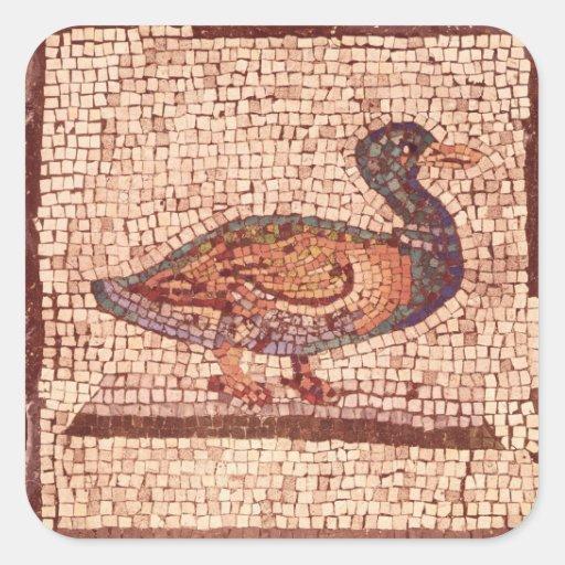 Un pato, detalle de Orfeo que encanta los animales Pegatina Cuadrada