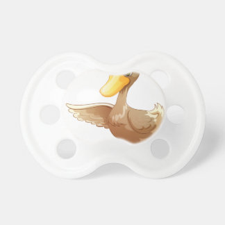 Un pato marrón chupetes para bebes
