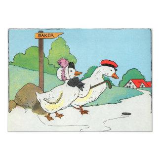 """Un pato y un drake, y una torta del medio penique invitación 5"""" x 7"""""""