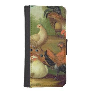 Un pavo real, palomas, pollos y un Jay en un Fundas Tipo Billetera Para iPhone 5