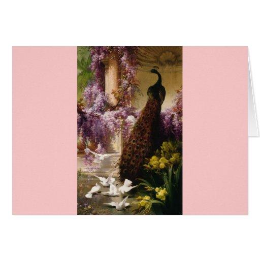 Un pavo real y palomas en una impresión del jardín tarjetón