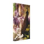 Un pavo real y palomas en una lona envuelta jardín impresiones en lienzo estiradas