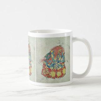 Un payaso que lleva el traje y la máscara colorido taza de café