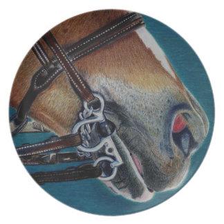 Un pedazo de la placa decorativa del caballo del c platos