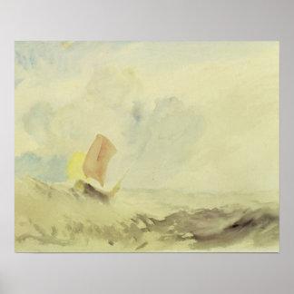Un pedazo del mar - un mar agitado con un barco de póster