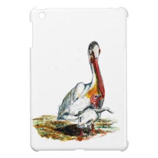Un pelícano y un polluelo, bosquejo del lápiz de l iPad mini cárcasas
