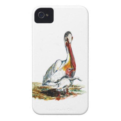 Un pelícano y un polluelo, lápiz de la acuarela carcasa para iPhone 4 de Case-Mate