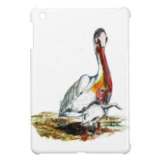 Un pelícano y un polluelo, lápiz de la acuarela iPad mini funda