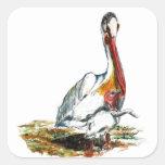 Un pelícano y un polluelo, lápiz de la acuarela calcomanías cuadradas personalizadas