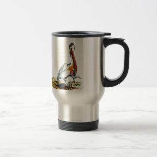 Un pelícano y un polluelo, lápiz de la acuarela taza de viaje