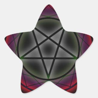 Un pentagram que brilla intensamente pegatina en forma de estrella