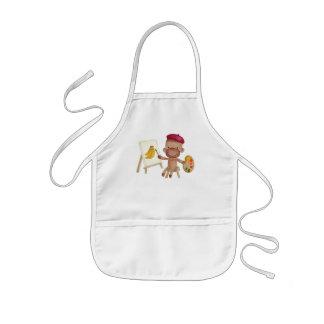 Un pequeño artista Socky el mono del calcetín Delantal Infantil