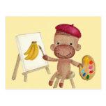 Un pequeño artista Socky la postal del mono del ca