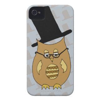 Un pequeño búho excelente en sombrero de copa y ga iPhone 4 cárcasas