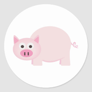Un pequeño cerdo en rosa pegatina redonda