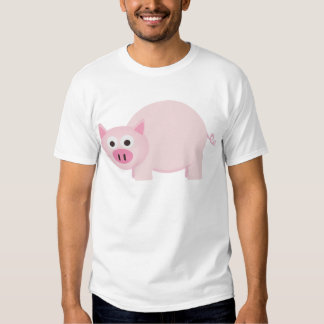 Un pequeño cerdo en rosa playeras