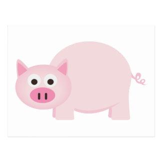 Un pequeño cerdo en rosa tarjeta postal