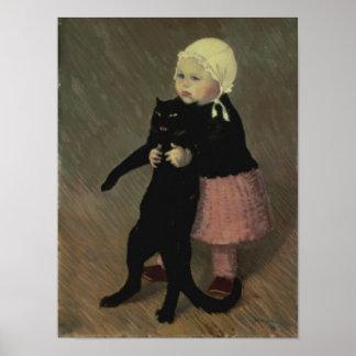 Un pequeño chica con un gato, 1889 posters