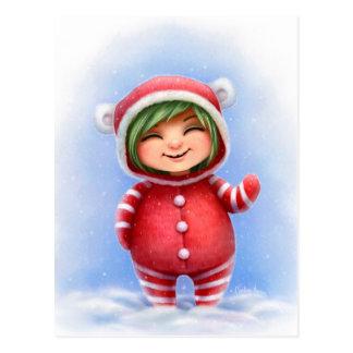 Un pequeño chica del navidad tarjetas postales
