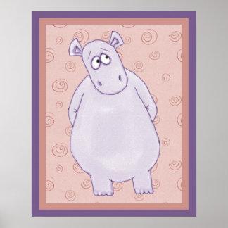 Un pequeño hipopótamo lindo que mira la impresión  poster