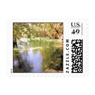 Un pequeño lago, tema de la naturaleza del agua sello postal