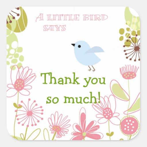 Un pequeño pájaro azul le agradece los pegatinas calcomania cuadradas