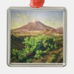 Un pequeño volcán en el campo mexicano, 1887 adorno navideño cuadrado de metal