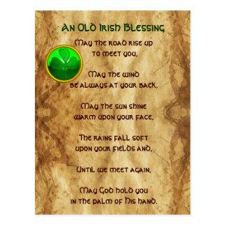 Un pergamino irlandés viejo de la bendición tarjeta postal