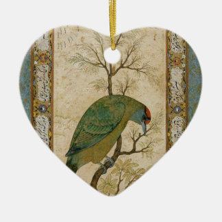 Un perro de aguas (pájaro azul-throated Himalayan) Adorno De Cerámica En Forma De Corazón