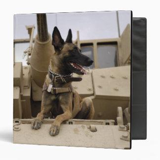 """Un perro de trabajo militar se sienta en un carpeta 1 1/2"""""""