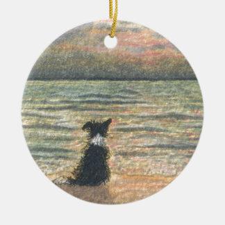 Un perro del border collie dice hola a la mañana ornamento de navidad