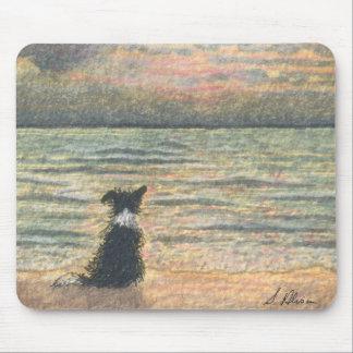 Un perro del border collie dice hola a la mañana mouse pads