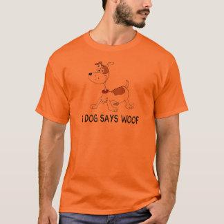 Un perro dice tejido playera