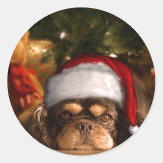 Un perro es para la vida no apenas para el navidad pegatina redonda