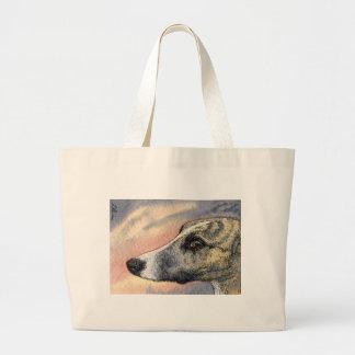 Un perro tímido, hermoso bolsa tela grande