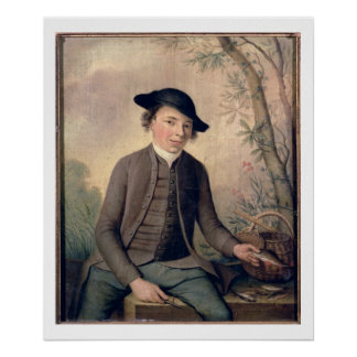 Un pescado de destripamiento del hombre joven, 178 póster