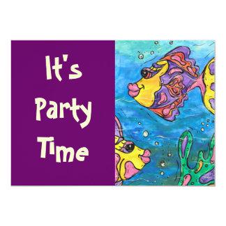 Un pescado dos invitaciones del fiesta de los invitación 12,7 x 17,8 cm