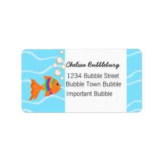 Un pescado fantástico etiquetas de dirección