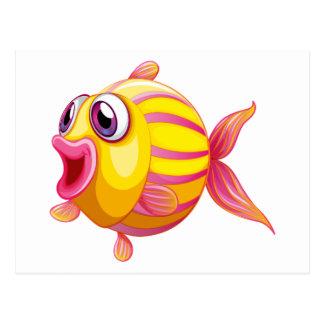 Un pescado pouty colorido tarjetas postales