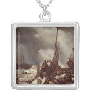 Un pescador que tira en una red, 1868 collar plateado