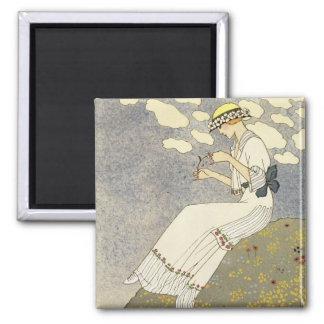 Un Peu..., design for a country dress by Paquin, 1 2 Inch Square Magnet