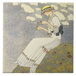 Un Peu..., design for a country dress by Paquin, 1 Ceramic Tile