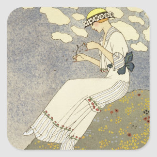 Un Peu..., design for a country dress by Paquin, 1 Square Sticker