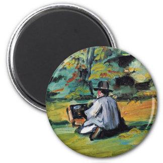 Un pintor en el trabajo de Paul Cézanne (la mejor Imán Redondo 5 Cm